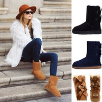 Wholesale snow boots for sale - 2019 UGS winter Australia Classic snow Boots good fashion WGG tall boots real leather Bailey Bowknot women s bailey bow Knee Boots mens shoe