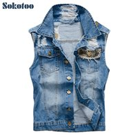 Wholesale Casual Male Camouflage Vest - Sokotoo Men's casual camouflage patch design denim vest Male fashion slim holes ripped coat Tank top Free shipping
