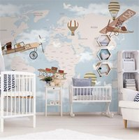 Wholesale paintings for children s rooms resale online - Nordic environmental protection children s room wallpaper cartoon around the world art creative wallpaper hand painted hot air balloon mu