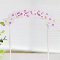 fuentes de la fiesta de cumpleaños de la magdalena al por mayor-Happy Birthday Cake Topper Banner Bandera Cupcake Cake Flags Baby Shower Fiesta de cumpleaños infantil Suministros para hornear Decoración