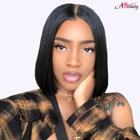Wholesale human hair lace wigs unprocessed online - Unprocessed Brazilian Hair Lace Front Human Hair Wig Short Bob Wigs Grade A Brazilian Straight Hair Density Wigs Inches
