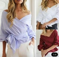 cuello de barco de hombros tops al por mayor-Mujeres atractivas de la blusa del hombro Camisa de verano Casual Flare Sleeve Tops de manga larga ropa corta Boat Neck Blusa Camisa