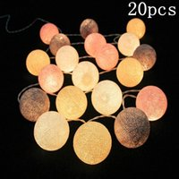 Wholesale Cotton Fairy String Lights - Pvc Cotton Balls Rope 20 Led Sweet Ball Lights String Home Garden Fairy Lamp Wedding Patio Party Decoration Luminous Lights