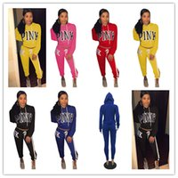 Wholesale 4t girls - Pink Letter Sportswear Women Tracksuits Casual Hoodies Sweatshirt + Pants 2PCS Set Love Pink Girls Sport Suit Outfit Leisure Tracksuit sale
