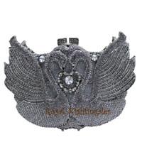 embreagens de animais em forma de animais venda por atacado-Embreagem de cristal cisne de prata de luxo e sacos de noite para a festa de casamento nupcial do jantar do partido