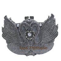 серебряные свадебные сумки оптовых- Silver Swan Crystal Clutch and Evening Bags for Party Dinner Bridal Wedding Animal Shape