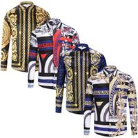 geschäft beiläufige männerhemden großhandel-Mode Designer Slim Fit Shirts Männer 3D Medusa Schwarz Gold Blumendruck Mens Dress Shirts Langärmelige Business Casual Shirts Männer Kleidung
