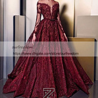 Wholesale ziad nakad lace applique evening resale online - Ziad Nakad Sheer Jewel Neck Evening Dresses With Long Sleeve Illusion Bodice Lace Appliques Occasion Dresses Girls Pageant Gown