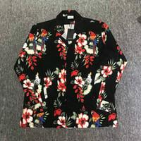en rahat kıyafet gömlekleri toptan satış-2019 En Iyi versiyonu yeni Moda justin bieber RHUDE giyim Pamuk Papağan Gevşek Hip Hop Uzun kollu gömlek sis Plaj Rahat çiçekli elbise gömlek