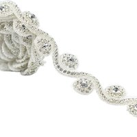 Wholesale decorations for parties weddings prices resale online - 1 Yard Factory Price Rhinestone Applique Trim For Wedding Party Decoration Home And Garden Hot Fix Rhinestone