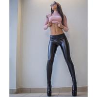 seksi mini rock toptan satış-Punk Rock Tarzı PU Suni Deri Tozluk Mor Altın Kadınlar Için Metalik Seksi Parlak Pullu Pantolon Shining Spor Legging