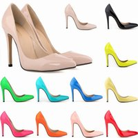 Wholesale ankle wrap pumps - Women Sexy high heels Pointed toe Pumps office shoes Patent leather Party shoes US Size 4-11 D0117