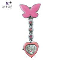 Wholesale Glow Clips - Medical Doctor Butterfly Pendant Heart Quartz Pocket Watch with Safety Clip Fob Women Nurses Watch Luminous Hands Glow in Dark