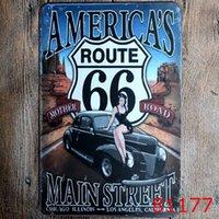 dessins de peinture de salon achat en gros de-100 pcs Route 66 Design Vintage Style Fer Peinture Pour Salon Creative Décoration Étain Affiche Créer Ambiance Boîtes Signe 20 * 30 cm