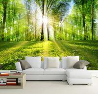 ingrosso sfondo della parete di foresta-il sole splende attraverso lo sfondo della foresta 3d Wall Photo Murale foresta Wall paper per Background Camera 3D Wall Mur