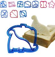 ayı sandviçi kalıbı toptan satış-Çocuklar DIY sandviç kalıp kesici lanch sandviç tost kalıp makinesi ayı araba köpek teris şekli kek ekmek bisküvi kalıp gıda kesici