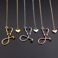 Wholesale stethoscope wholesale - Stethoscope Lariat necklace,Heart and Stethoscope Pendant for Doctor medical student Gift,the Doctor Nurse Jewelry drop shipping 162506