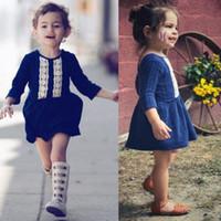 ingrosso vestito lungo dal manicotto blu del bambino-Le neonate del bambino dell'annata si veste i vestiti blu dal pizzo della manica lunga per le ragazze Vestiti da cerimonia nuziale di festa del partito