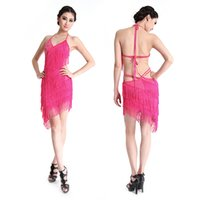Wholesale belly dance ruffled skirts - Wholesale-5 Color Latin Salsa Blackless Dress Tango Ballroom Dance Dresses Fringes Tassel Skirt Hot New