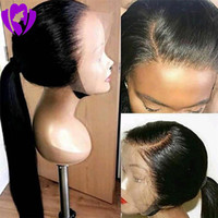 Natural Black  brown Long Silky Straight brazilian Full Lace front Wigs with Baby Hair Heat Resistant Synthetic Wigs for Black Women