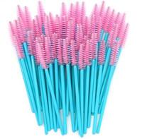 extensões de escova rosa venda por atacado-New Chegou 500 pcs Azul Lidar Com Pincéis de Rosa de Alta Qualidade Nylon Descartáveis Varinhas de Mascara Pestanas Maquiagem Escovas Extensão Dos Cílios