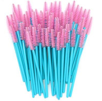 ingrosso spazzole di trucco azzurro-Nuovo arrivato 500 pz Blue Handle Pink Brushes Nylon superiore Monouso Mascara Wands Lashes Makeup Brushes Extension ciglia