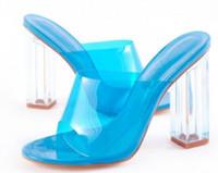 encaje claro hasta zapatos de boda al por mayor-2018 mujeres del verano zapatos de fiesta sandalias de PVC zapatos de novia sandalias de tacón de cristal talón peep toe gladiador sandalias claras bombas de talón