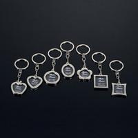 fotos metalle großhandel-2018 Fotorahmen Runde Herz Apple Oval Rhombus Form Metalllegierung Schlüsselanhänger Schlüsselanhänger Auto Schlüsselanhänger Paare Schlüsselanhänger Business Geschenk