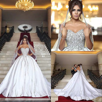 Wholesale beads bling wedding dresses train for sale - Group buy Luxury Bling Dubai Arabic Plus Size Ball Gown Wedding Dresses Beads Sequins Sweetheart Backless Sweep Train Country Wedding Dress
