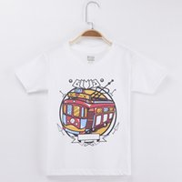 Wholesale girls boy love cartoon resale online - 2018 New Arrival Casual Kids T shirt For Children Love The Bus Cartoon Cotton Boys Short T Shirts Girls Clothes Tops Baby Tee T T