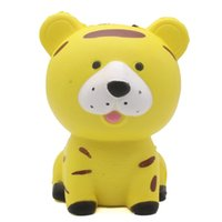 Wholesale clever toys - Jumbo Squishy Squat Clever Tiger Toys Squeeze Slow Rising Cake Phone Strap Home Decor Kid Toy Gift Relieve Stress