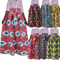 traditionelle röcke kleider großhandel-M-5XL Frauen Traditionellen Afrikanischen Ankara Rock Dashiki Druck Hohe Taille Plissee Beach Party Abend Boho Maxi Kleid