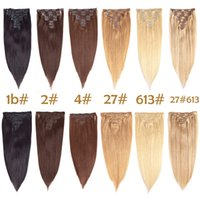 Wholesale multi color hair extension online - Clip In Hair Extensions Straight Human hair Multi color Brazilian Hair Set Clip