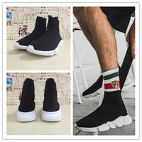 Wholesale high quality shoe brands - hot 2018 Brand High Quality Shoes Flat Socks Boots Women's Slip-on Elastic Cloth Speed Trainer Runner Outdoors movement Man's running shoes