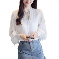 Wholesale white long sleeved blouse women online - Women Blouses Autumn New Fashion Ladies Shirts Chiffon Shirt Blouse Lace Hollow Long Sleeved Woman Shirt Feminina Kimono Top