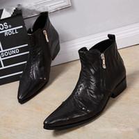 Wholesale cowboy boots wedding dress online - Men Boots Black Genuine Leather Dress Cowboy Boots Zip Men Boots