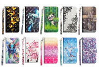 Wholesale 3d note case cartoon online - 3D Leather Wallet Case For Iphone XS MAX XR X S SE S Galaxy Note9 Lace Flower Flip Cover Cartoon Card Panda ID Strap Butterfly