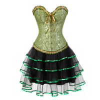burlesque kleider korsetts großhandel-Gothic Burlesque Korsett und Rock Set plus Size Halloween Kostüme Victorian Korsett Kleider Party Floral Mode sexy grün 6xl