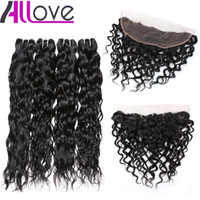 Wholesale 32 hair resale online - Cheap A Brazilian Hair Water Wave With Lace Frontal Closure Hair Bundles With x4 Ear to Ear Lace Frontal Closure Weaves