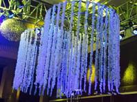 Wholesale wholesale wedding decorations arches - 2018 Romantic Silk Artificial Flowers Wedding Party Simulation Wisteria Vine Long Plant Home Room Office Garden Arch Decoration Flowers