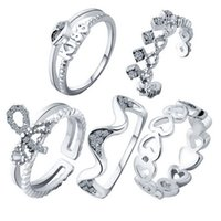 Wholesale vintage crystal jewellery - MJARTORIA Fashion Peach Heart Ring Sets Knot Crown Suit New 2017 Vintage Crystal Opal Knuckle Rings For Women Jewellery 5PCs Lot