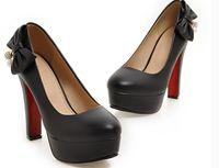 обувь для женщин каблуки оптовых-Бесплатно отправить горячие туфли на высоком каблуке 44 45 46 47 ярдов грубый каблук одноместный обувь бантом дрель женская обувь большой размер и небольшой код