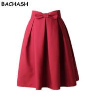 arco alto cintura alta al por mayor-Venta al por mayor-BACHASH Mujeres elegantes falda de cintura alta plisada hasta la rodilla Falda Vintage A Line Big Bow Rojo Negro Side Zipper Skater Faldas Rojo