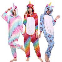 trajes de bola de praia venda por atacado-Novo Estilo Adulto Pijamas Set Inverno Flanela Bonito Dos Desenhos Animados Pegasus Unicorn Panda Cosplay Com Capuz Homens Mulheres Pijamas Sleepwear Onesie