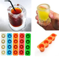 Wholesale Glasses Mold - Ice Cube Tray Mold Makes Shot Glasses Novelty Gifts Summer Drinking Tool Silicone Shot Glasses Mould CCA9296 100pcs