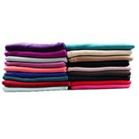 bufandas de jersey liso al por mayor-Llanura instantánea de dos vueltas jersey bufandas de algodón chal dos cara bufandas musulmanas Hijab suave y elástico fácil de usar