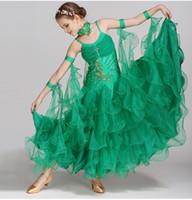 beyaz çocuk dans elbisesi toptan satış-Yeni Çocuk Kız Balo Salonu Dans Elbise Modern Waltz Standart Rekabet Straplez Aplike Rhinestones Dans Elbise Kırmızı Yeşil Beyaz Pembe
