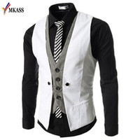 Wholesale Men Dress Vests Grey - New Autumn Men Vest Suit Waistcoats British Style Casual Blazer False Two Vest Double Breasted Mens Slim Fit Dress Suit Vests