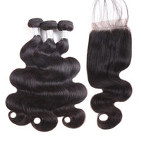 Wholesale bulk hair for sale - A Brazilian Body Wave Straight Hair Bundles With Closure Unprocessed Peruvian Indian Malaysian Virgin Hair with Lace Closure