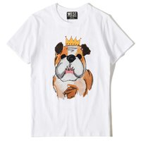 Wholesale pug t shirt xl - New Novelty 2018 Men Crown pug Dog T Shirts T-Shirt Hip Hop Skateboard Street Cotton T-Shirts Tee Top kenye #F82